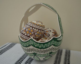 IN STOCK Genuine Green Decorated Ostrich Egg Basket Gift/Collectible/Decoration (Large)