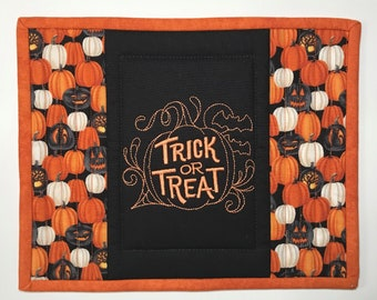 Halloween quilted mug rug Trick or Treat candle mat item #452