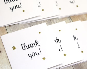 Mini Thank You Cards - Set of Mini Thank You Cards - Mini Note Cards - Mini Square Cards - Mini Thank You Cards for Customers - Mini Cards