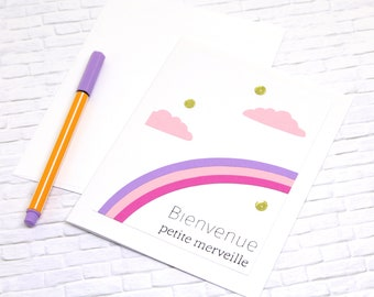 Handmade Baby Card in French - Baby Girl Card - New Baby Card - Pink Purple Rainbow Card - Congratulations Baby Card - Welcome Baby Card