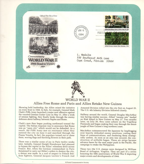 World War II Allies Free Rome Postal Commemorative Society