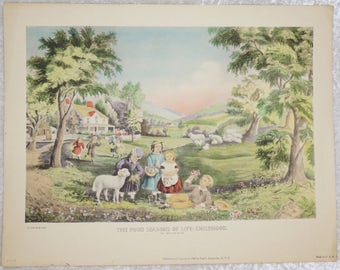Currier and Ives,  1947 The Four Seasons of Childhood Antique Art,  Ready To Ship,  Childhood Art, Vintage Fine Art, Free Shipping