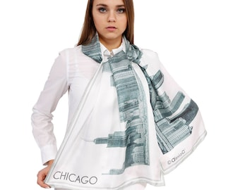 77ab3f6a46caf CHICAGO Collection Souvenir Chicago Skyline Gift GRAY Stole Scarf Shawl  Fine Art Original PENCIL Illustration by Alesia C. Table Runner Gift