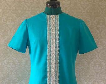 Blue Shift Dress, 60s Dress, Knee-length Dress, Mod Dress, Summer Dress, Short Sleeved Dress, Wedding Guest Dress, Gift for Her, Gift Idea