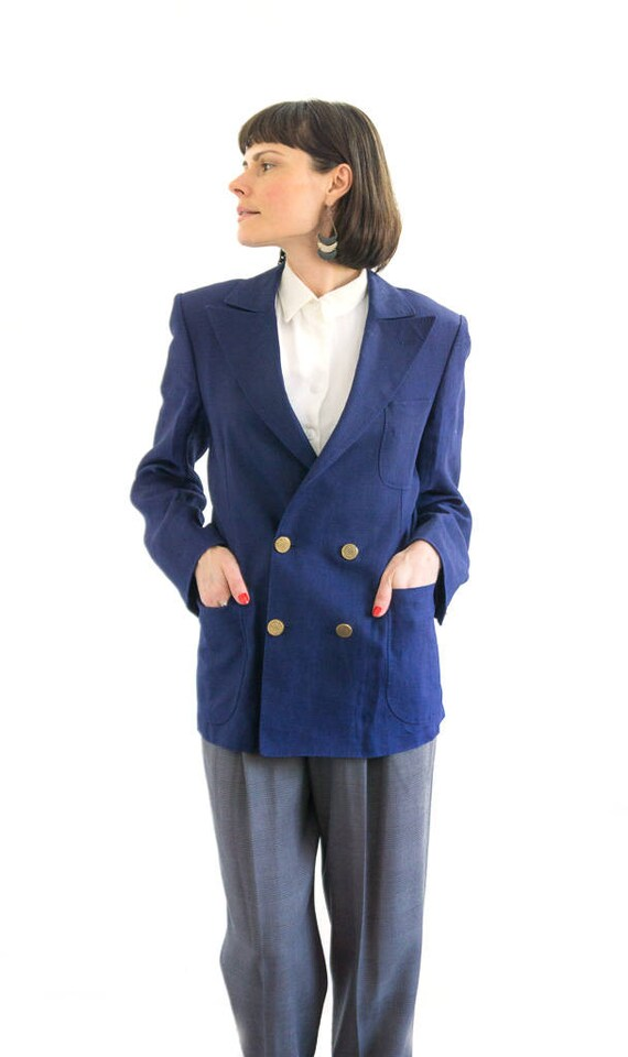 Linen Jacket, Tailored Navy Blazer, Summer Navy Ja
