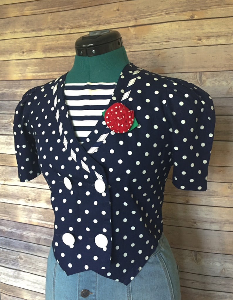 Gift For Women Rockabilly Clothing 90s Top Pinup Clothing Rockabilly Top Women/'s Retro Top 90s Fashion Polka Dot Blouse Retro Shirt