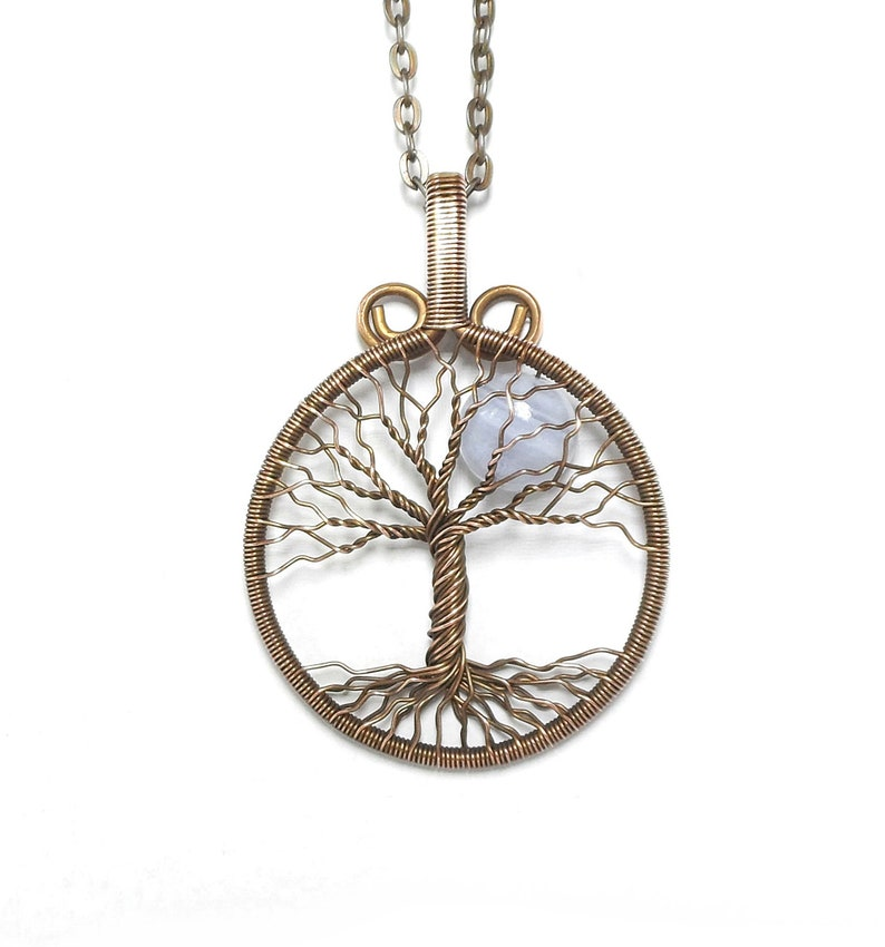 01994aab0b858 Blue Lace Agate Tree Of Life Necklace Bijoux Viking Pendant Norse Jewelry  Full Moon Necklace Nordic Jewelry Celtic Tree Of Life Pendant