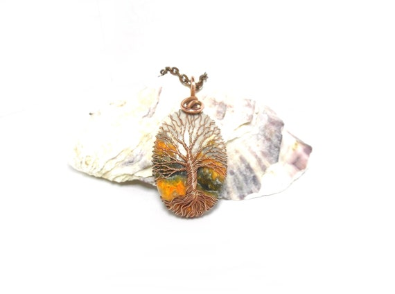 Bumblebee Jasper Tree Of Life Pendant Necklace Copper Etsy