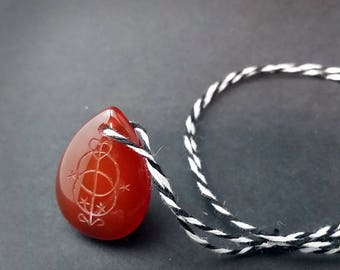 Red Well Intaglio Engraved Carnelian Drop Necklace