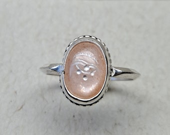 Pink Eye - Engraved Peach Moonstone - 10-12mm - Made to Order - Any Size