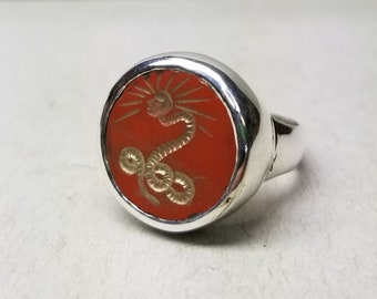 Small C.G. Jung Signet Ring - 15mm Round Engraved Gem - Made to Order - Any Size