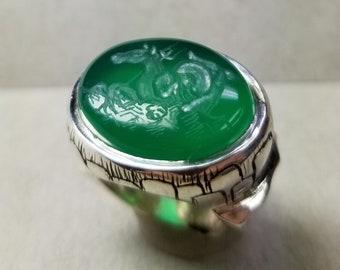 Mermare Green Onyx Signet Size 5 - Original Intaglio Engraving
