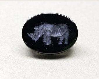 Rhinocerous Intaglio - 20mm Onyx Engraved Gem