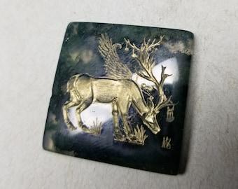 Fantastical Creature - Moss Agate Intaglio Gem Carving