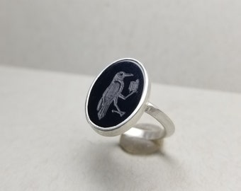 Rook with a Book or a Crow in the Know or a Reading Raven - Gem Intaglio in Onyx - Made to Order