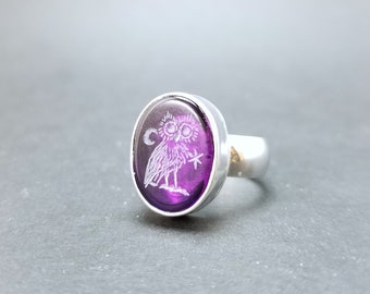 Cosmic Owl Amethyst 16mm Intaglio Ring - Made to Order - Any Size - Any Stone