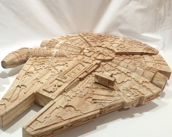 Star Wars Millenium Falcon (LARGE) - Hand Carved 100% solid wood - New Item ready June 2018- 33in Long