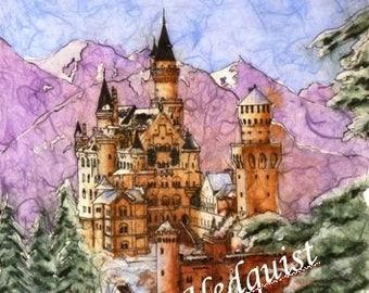 Neuschweinstein Castle (LAH #088, Original Watercolor Painting)