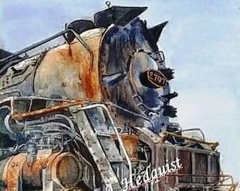 C&O 2707 Steam Locomotive (LAH #112, Original Watercolor Painting)