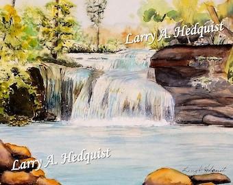 Carrick Creek Falls, (LAH #165, Original Watercolor Painting