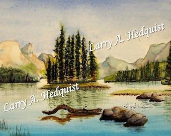 Spirit Island, (LAH #167, Original Watercolor Painting)