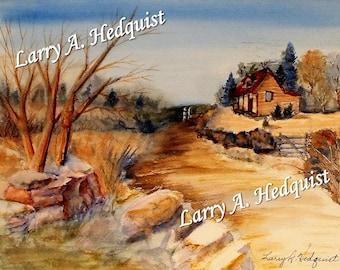 Country Road (LAH #169, Original Watercolor Painting)