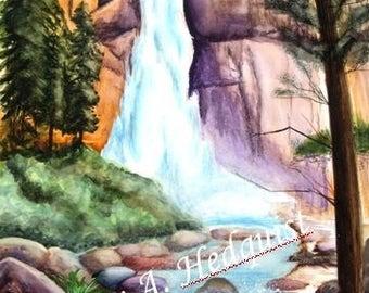 Nevada Falls (LAH #117, Original Watercolor Painting)