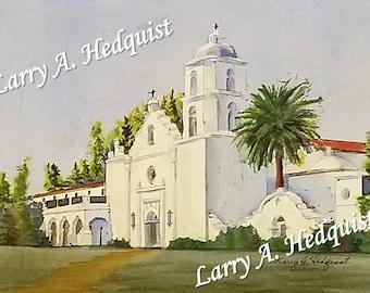 Mission San Luis Rey (LAH #174, Original Watercolor Painting)