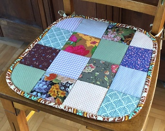 Quilted Chair Pad | Seat Cushion, Patchwork, Cotton, Floral, Jacquard, Vintage