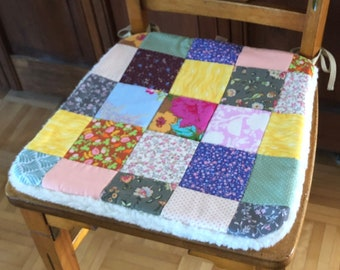 Quilted Chair Pad | Seat Cushion, Patchwork, Cotton, Floral, Wool, Vintage