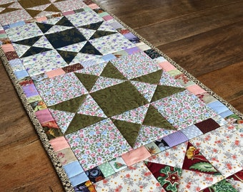 Quilted Table Runner | Cotton, Patchwork, Floral, Vintage, Four Seasons
