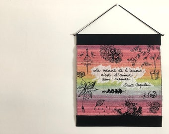 Handwoven Wall Hanging | Jacquard Tapestry, Handspun Wool, Hand Dyed Wool, Doodle, Quote, Saint Augustine, French