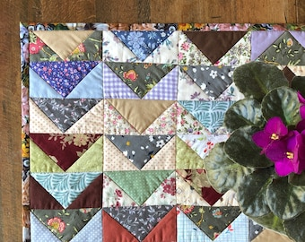 Quilted Table Topper | Mini Table Runner, Patchwork, Flying Geese