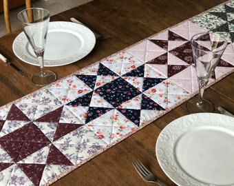 Quilted Table Runner | Cotton, Patchwork, Floral, Vintage, Ohio Star, Reversible