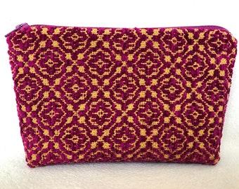 Handwoven Pouch | Cotton, Linen, Baroque, Crimson, Zipper, Colonial Overshot