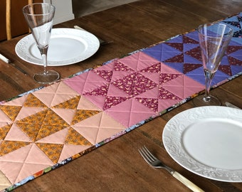 Quilted Table Runner | Cotton, Patchwork, Floral, Degrade, Minimalistic, Vintage, Ohio Star, Reversible