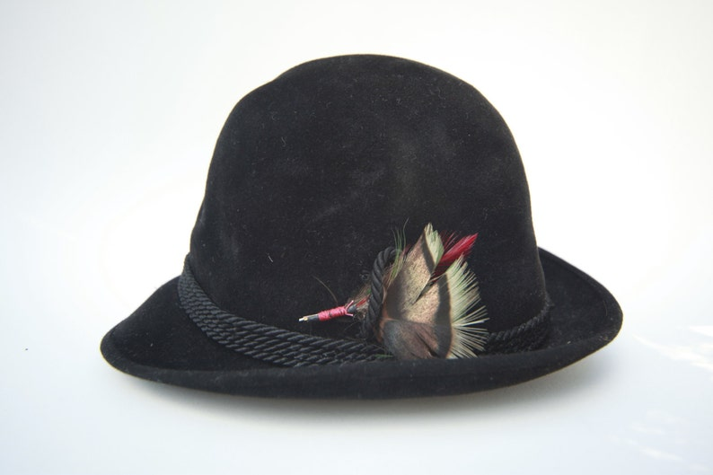 VINTAGE BIANCHI Hat Black Wool Mens Feather Italy Hunters  498564abac55