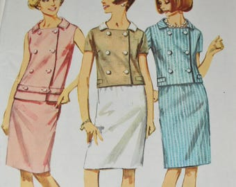 Vintage 1960s Simplicity 6403 Sewing Pattern Two Piece Dress Vest Skit  Belt Double Breasted Size 16 Bust 36 UNCUT