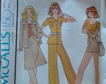 "Vintage 1970s McCalls 4408 Sewing Pattern Safari Jacket Wide Legged Pants Shorts Skirt Misses Size 14 Bust 36"""