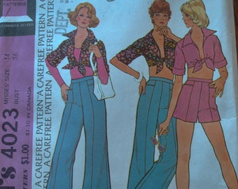 Vintage 1970s McCalls 4023 Sewing Pattern Wide Legged Pants Short Shorts Short Midriff Collared Tie Misses Size 14 Bust 36 UNCUT