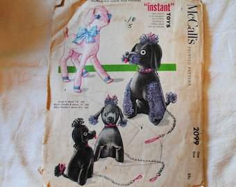 Vintage 1970s, McCalls 2099 Sewing Pattern, Stuffed Toys, Lamb, Mama and Baby Poodle, Puppy Poodle, Plushie