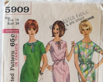"Vintage 1965 Simplicity 5909 Sewing Pattern  Slim Fitting Dress Short Sleeve and Sleeveless Dress Tied at Neckline Size 14 Bust 34"" UNCUT"