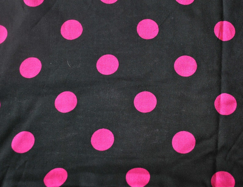 Yardage Large Pink Vintage 2 Plus Yards Red Dots New Fun Sold By The Yard Black Lightweight Fabric With Bright