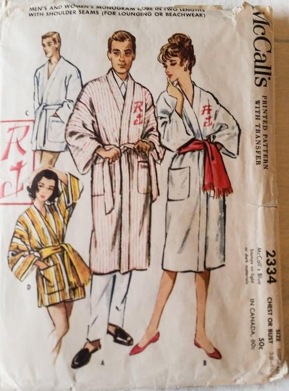 Vintage Men\'s Women\'s Sewing Pattern Robe Sleepwear | Etsy