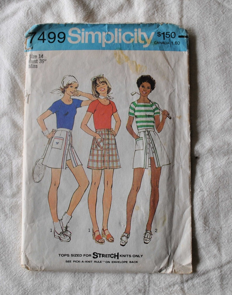 Size 14 Tennis Skirt Misses T Shirt Simplicity 7499 Sewing Pattern Vintage 1970s Shorts Culottes Mini Skirt Uncut Bust 36