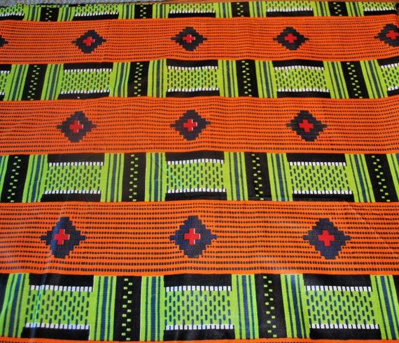 Green and White Wax Print  Fabric Cotton Fabric  Yardage Fabric by the Yard New Unused Bold Geometric Orange African New Tribal