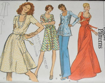 Vintage 1970s Vogue 8559 Sewing Pattern, Scoop Neck Semi Fitted Dress, Tunic , Pants, Size 42, Bust 46 UNCUT