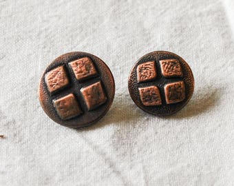 "14 Vintage MCM Metal Buttons, Copper Colored, 3 @  7/8"" ( 2 cm), 11 @  3/4"" (1.75cm), Craft Supplies, Shaft"