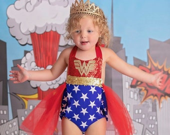 095dda9f5 Wonder Women Romper, Wonder Woman Tutu Outfit, Wonder Woman Dress baby  romper, super hero party, wonder women party, Wonder woman tutu