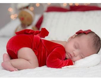 872f0c038c6b Newborn Girl Christmas Outfit, Red Velvet Romper Set, Newborn Girl Photo  Outfit, Baby Girl Christmas Outfit, Newborn Girl Coming Home Outfit